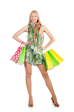 Woman after shopping spree on white Stock Photo - 29996845