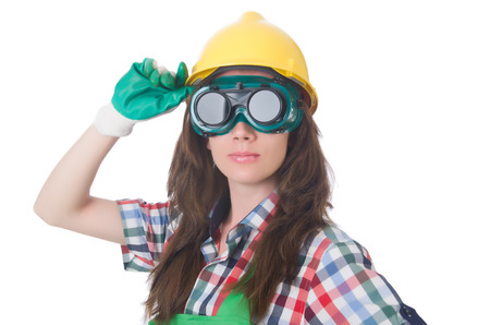 Woman wearing goggles in safety concept Stock Photo - 30082457