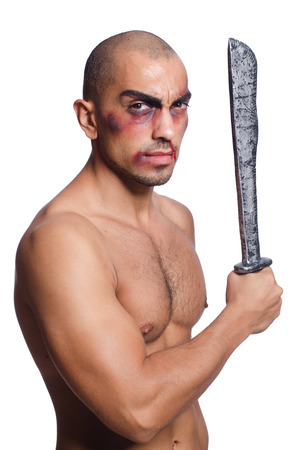 bruised: Man with sword isolated on white Stock Photo