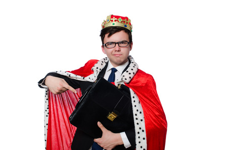 coronation: Businessman with crown isolated on white