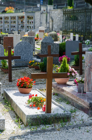 Small cemetery in Italy on summer day photo
