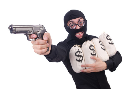 mob: Funny criminal with gun isolated on white Stock Photo