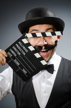 chaplin: Funny man with movie clapper board