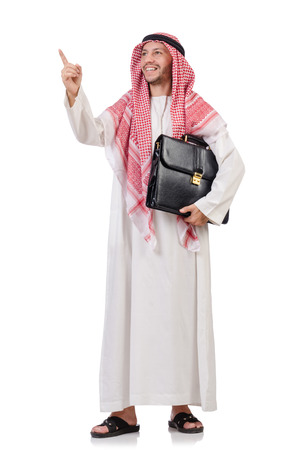 Arab businessman  with briefcase  pressing virtual buttons isolated on white photo