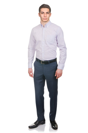 formal portrait: Man in fashion look isolated on white