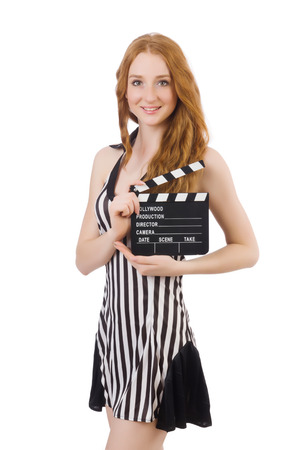 Woman referee with movie clapboard photo