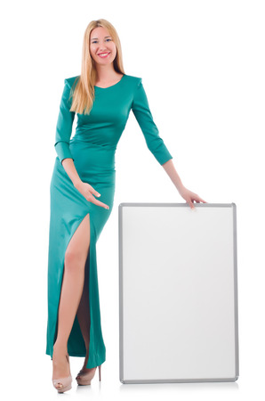 Woman in green dress with blank board Stock Photo - 30285751