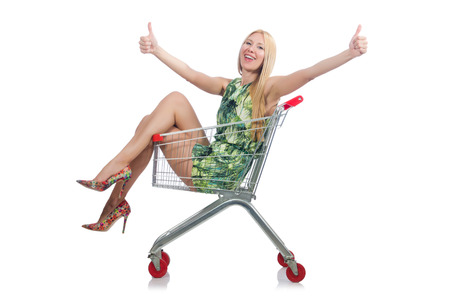 Shopping cart with supermarket basket Stock Photo - 30285789