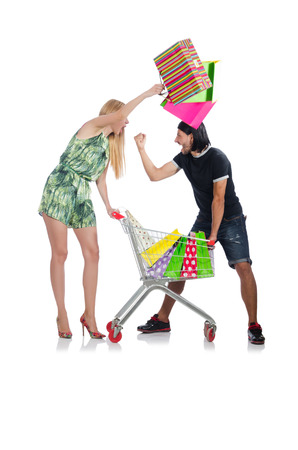 Happy family pair of wife and husband after shopping Stock Photo - 30285813