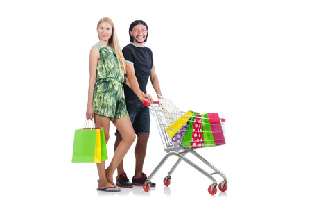 Happy family pair of wife and husband after shopping Stock Photo - 30285810