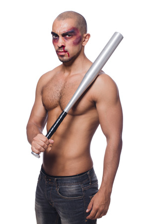 bruised: Ripped man with baseball bat on white Stock Photo