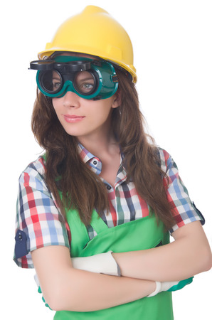 Woman wearing goggles in safety concept Stock Photo - 30303587
