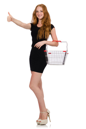 Woman after shopping in the supermarket isolated on white photo