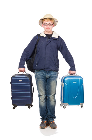 Funny man with luggage wearing safari hat photo