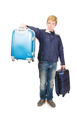 Funny man with luggage on white photo
