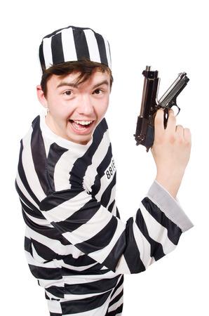 Funny prison inmate hod a gun photo