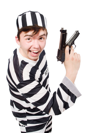 Funny prison inmate hod a gun photo