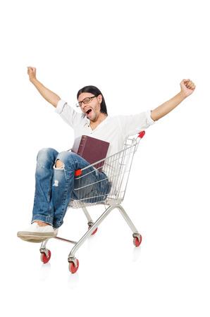 Man shopping with supermarket basket cart isolated on white photo