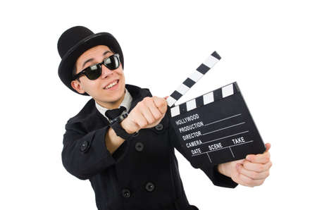 chaplin: Man with movie clapper isolated on white