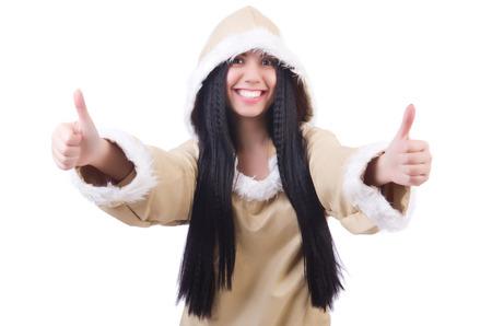 eskimo woman: Woman eskimo isolated on white Stock Photo
