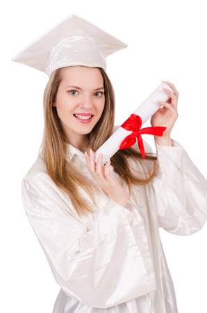 solated: Graduate girl solated on white