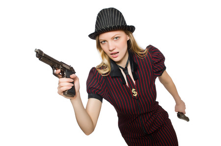 Young woman gangster with gun on white photo