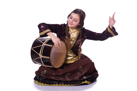 azeri: Young azeri woman playing traditional drum nagara Stock Photo