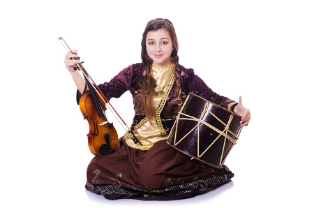 Young woman playing musical instruments on white Stock Photo - 30412754