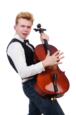 solo violinist: Funny man with violin on white