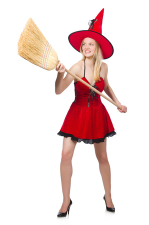 Witch In Red Dress With Broom Stock Photo, Picture And