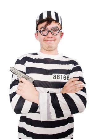 Funny prison inmate in concept photo