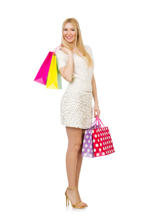 Woman with shopping bags isolated on white Stock Photo - 30735000