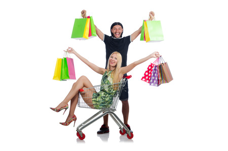 Happy family pair of wife and husband after shopping Stock Photo - 30735192