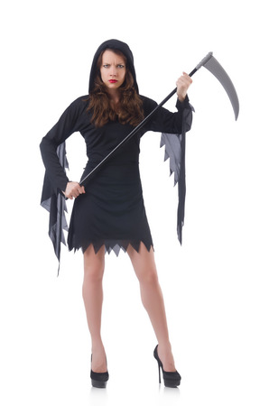 Woman in halloween concept with scythe Stock Photo - 30746944