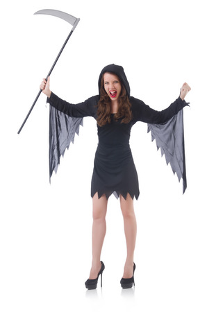 Woman in halloween concept with scythe Stock Photo - 30747888