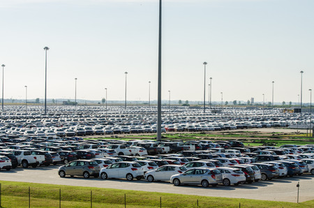 TUSCANY, ITALY - 27 June: New cars parked at distribution center in Tuscany, Italy. This one of biggest distribution centers in Italy.