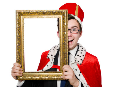 Man with picture frame isolated on the white photo