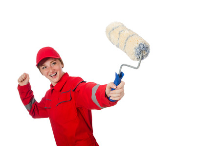Woman painter in red coveralls isolated on the white photo