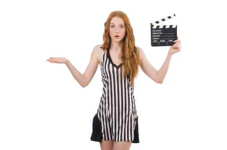 arbitrator: Woman referee with movie clapboard Stock Photo