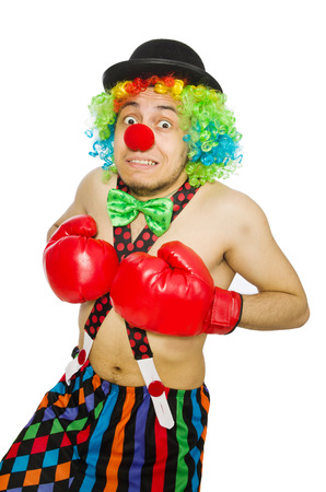 buffoon: Clown with boxing gloves isolated on the white Stock Photo