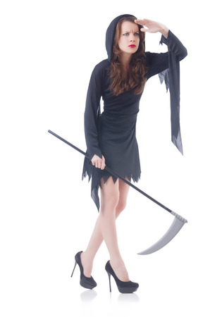 Woman in halloween concept with scythe Stock Photo - 30841699
