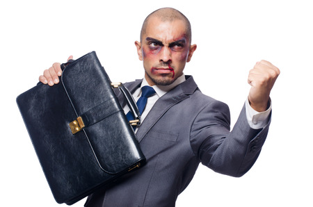 Badly beaten businessman isolated on white Stock Photo - 30841716