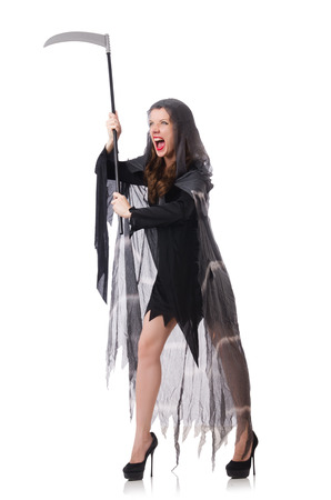 Woman in halloween concept with scythe Stock Photo - 30841811