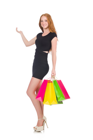 Woman in shopping concept isolated on white photo