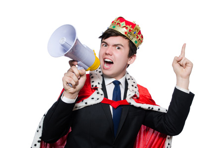 Man with crown and megaphone isolated on white photo