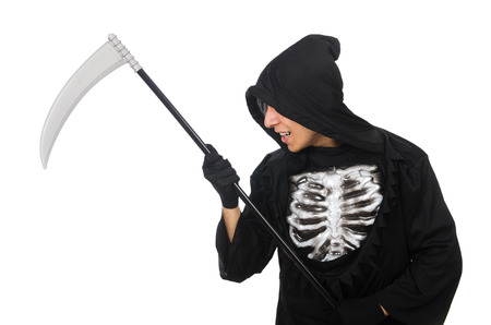 Scary monster with scythe isolated on white photo