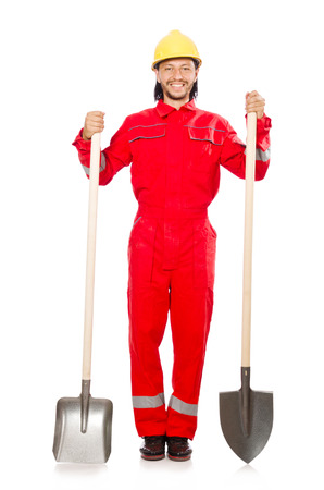 coveralls: Man in red coveralls with spade Stock Photo