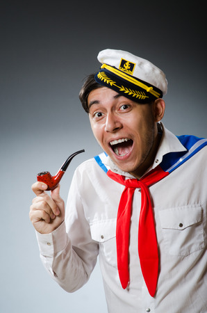 Funny captain sailor wearing hat photo