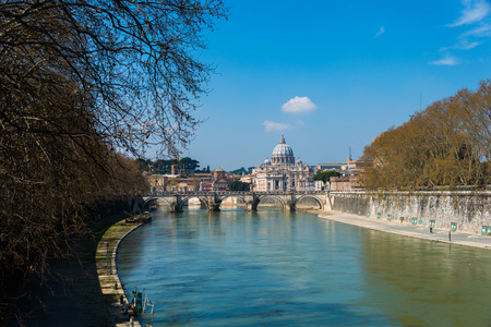 tiber: Saint Peter cathedral over Tiber river in Rome Italy