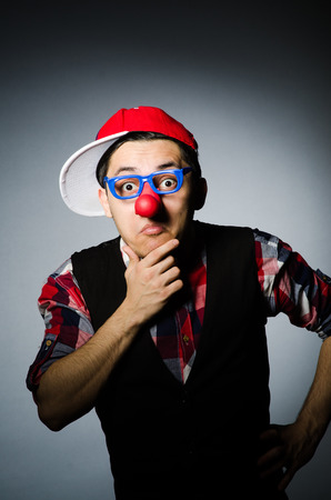 pierrot: Funny clown against the dark background Stock Photo